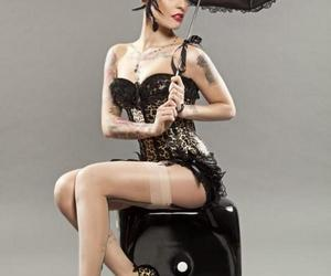 black and white, body art, and body modification image