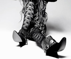 fashion, black and white, and hair image