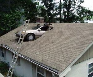 funny picture, fail picture, and car crashes into roof image