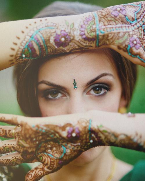 eyes, henna, and tattoo image