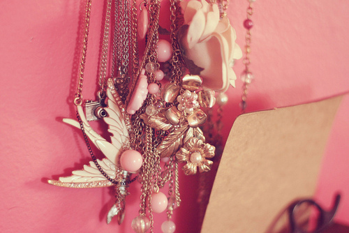 pink, necklace, and jewelry image