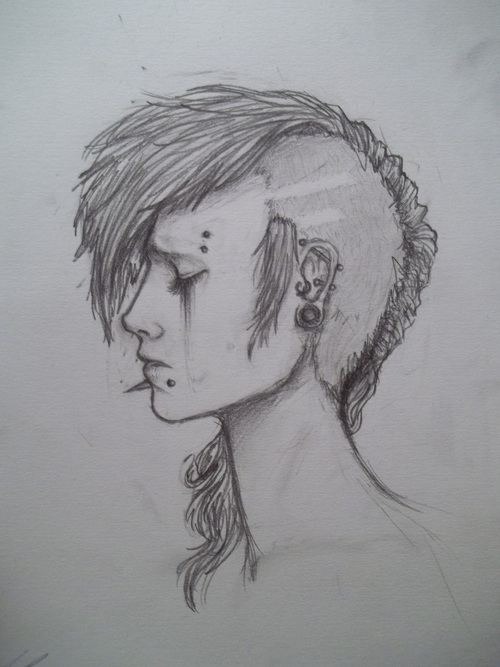 drawing, girl, and Piercings image