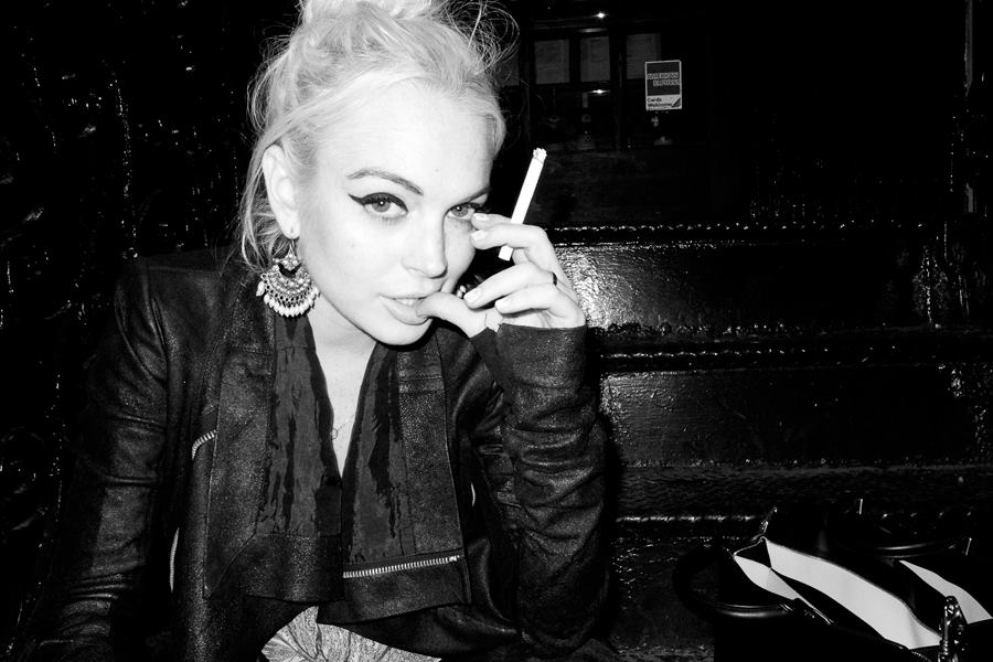 lindsay lohan, black and white, and cigarette image