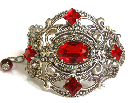 victorian jewelry, silver bracelet, and gothic jewelry image