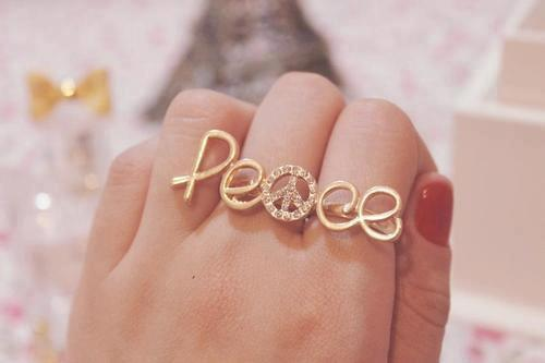 peace, ring, and gold image
