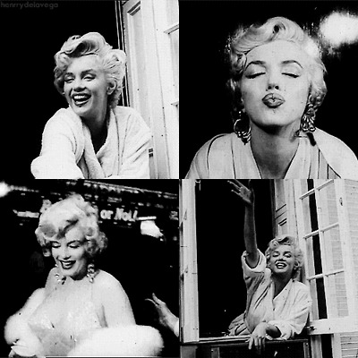 Marilyn Monroe, black and white, and gif image