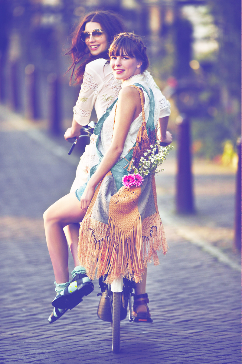 girl, bike, and friends image
