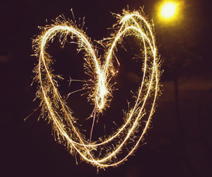 fireworks, heart, and love image