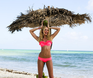 beach, candice swanepoel, and bikini image
