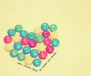 heart, m&m, and smile image