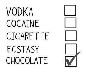 chocolate, vodka, and cigarette image