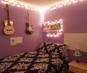 purple, bedroom, and guitar image