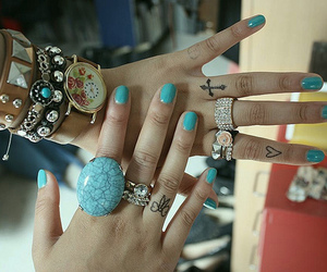 rings, nails, and tattoo image