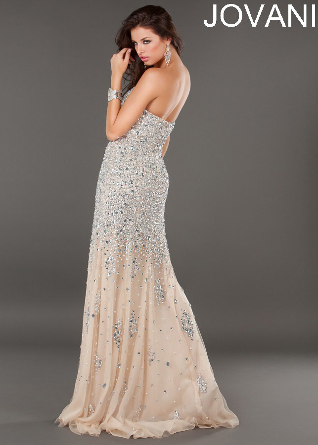 20fc903f274889 Jovani 7441 - Silver Nude Beaded Strapless Evening Prom Dresses Online