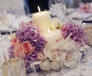 centerpiece, flowers, and wedding image