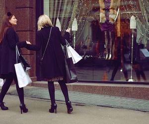girls, shopaholic, and shopping image