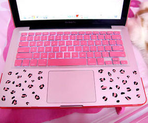 pink, laptop, and girly image