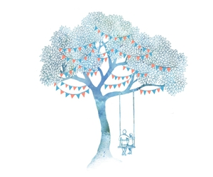 art, tree, and couple image