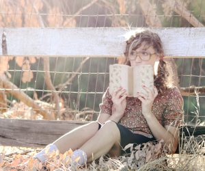book, girl, and glasses image