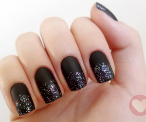 black nails, brilho, and esmalte image