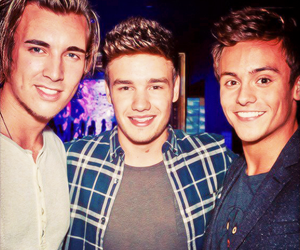 liam payne, tom daley, and one direction image