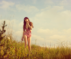 girl, nature, and sky image