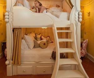 bed, bunk beds, and cream image