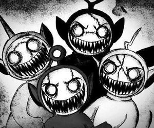 teletubbies, black and white, and monster image