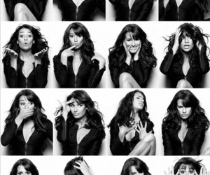 lea michele, glee, and black and white image
