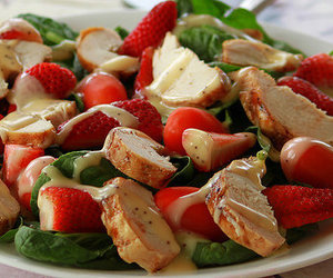 food, salad, and strawberry image