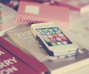 iphone, book, and pink image
