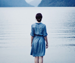 girl, blue, and sea image