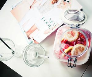drink, magazine, and fruit image