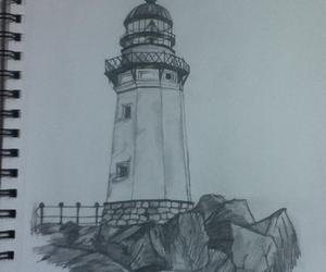 black and white, beautiful, and lighthouse image