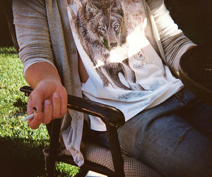 wolf, fashion, and cigarette image