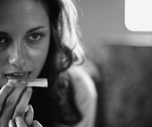 kristen stewart, black and white, and on the road image