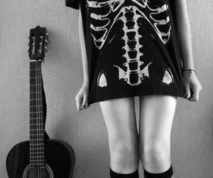 guitar, girl, and black and white image