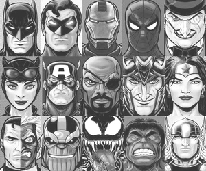 hero, Marvel, and black and white image