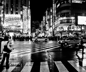black and white, city, and japan image