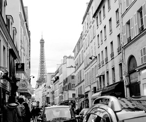 black and white, buildings, and cars image