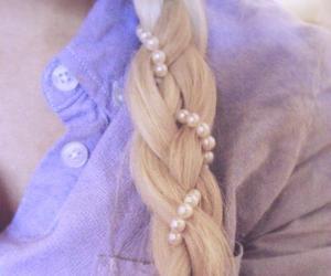 hair, braid, and pearls image