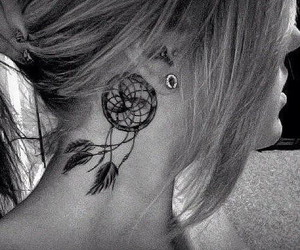 black and white, earings, and girl image