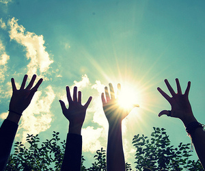 hands, sun, and sky image