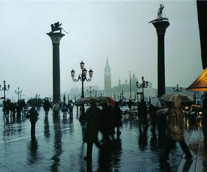 rain, venice, and people image