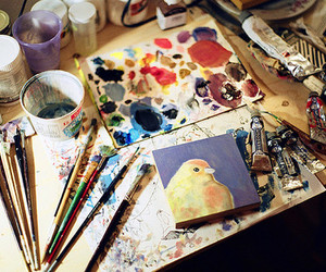 art, paint, and bird image