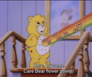 care bear, rainbow, and flower image