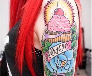 tattoo, cupcake, and hair image