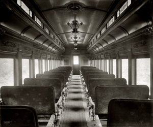 aisle, black and white, and seats image