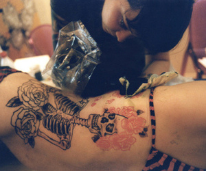 skeleton, tattoo, and fllowers image