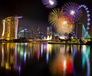 fireworks, light, and city image